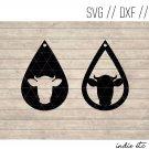 Teardrop Cow Earring Digital Art File Download (svg, dxf, jpg) Leather Earrings Cut File