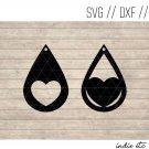 Teardrop Heart Earring Digital Art File Download (svg, dxf, jpg) Leather Earrings Cut File