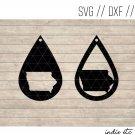 Teardrop Iowa Earring Digital Art File Download (svg, dxf, jpg) Leather Earrings Cut File