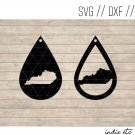 Teardrop Kentucky Earring Digital Art File Download (svg, dxf, jpg) Leather Earrings Cut File