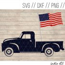 Truck with American Flag Digital Art File Download (svg, png, dxf, jpg, cut file, template)