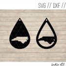 Teardrop North Carolina Earring Digital Art File Download (svg, dxf, jpg) Leather Earrings Cut File