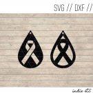 Teardrop Ribbon Earring Digital Art File Download (svg, dxf, jpg) Leather Earrings Cut File