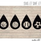 Teardrop Sports Earring Digital Art File Download (svg, dxf, jpg) Leather Earrings Cut File