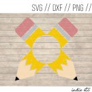 Monogram Pencil Digital Art File Download (svg, png, dxf, jpg, cut file, template)