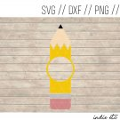 Pencil Digital Art File Monogram Download (svg, png, dxf, jpg, cut file, template)