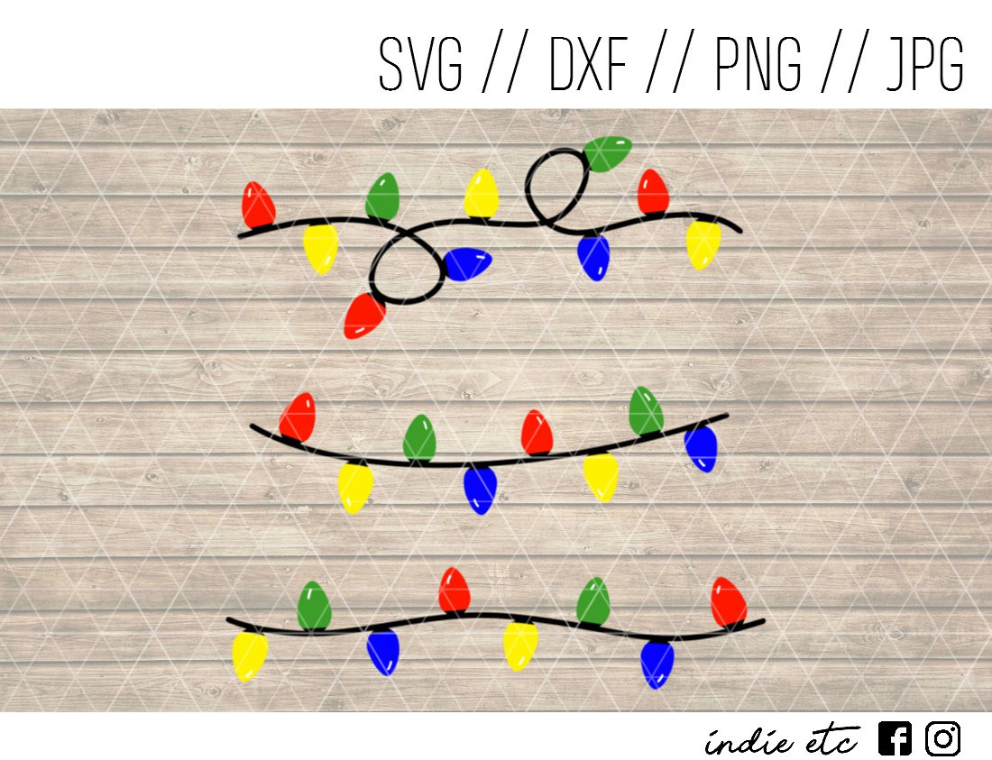 Christmas Lights Digital Art File Download Hand Drawn (svg, png, dxf, jpg, cut file)