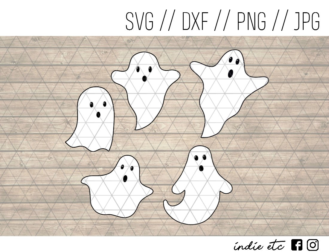 Ghosts Digital Art File Download Hand Drawn (svg, png, dxf, jpg, cut file) Halloween