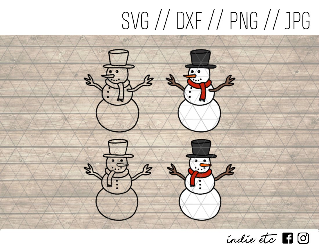Snowmen Digital Art File Download Hand Drawn (svg, png, dxf, jpg, cut file) Snowman, Christmas