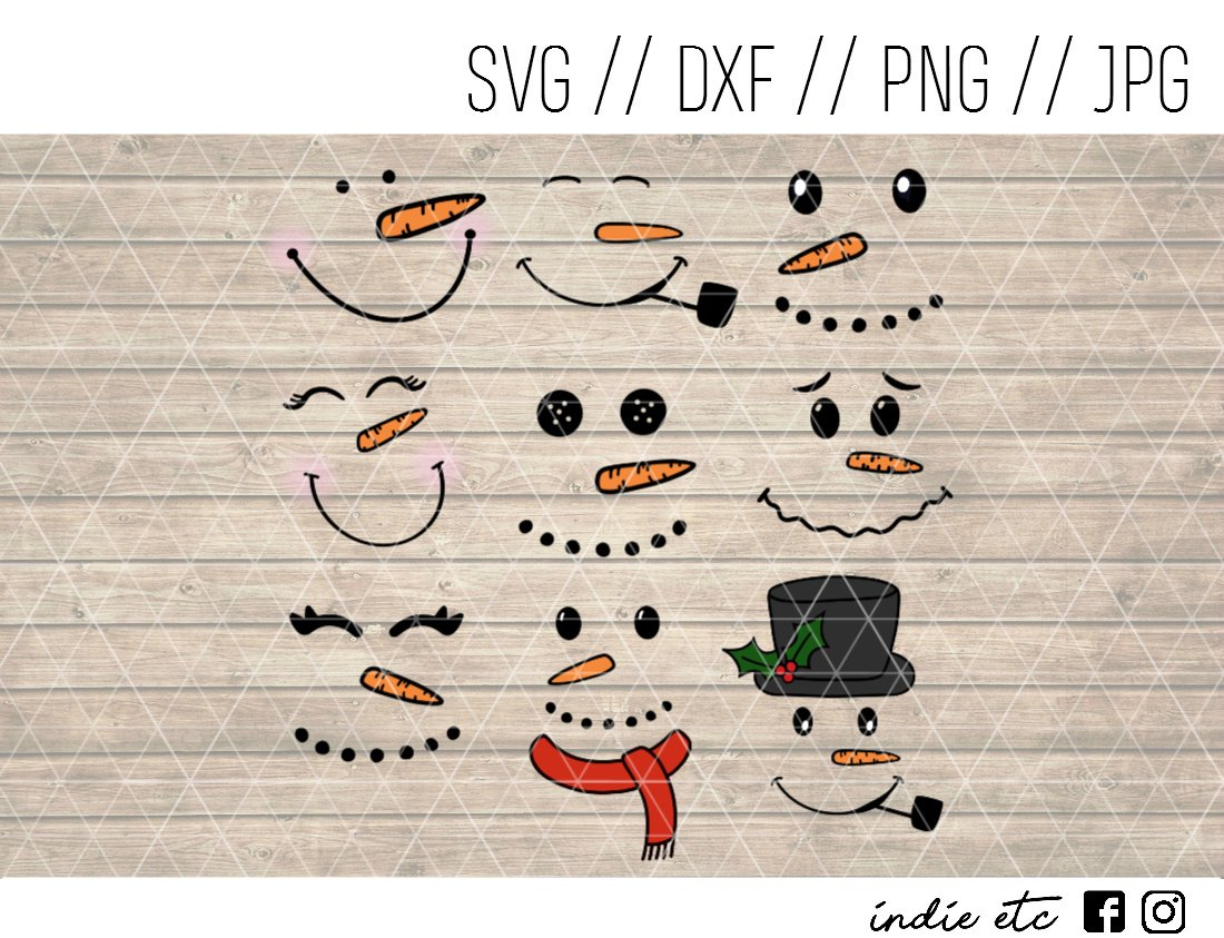 Snowmen Faces Digital Art File Download Hand Drawn (svg, png, dxf, jpg, cut file) Snowman