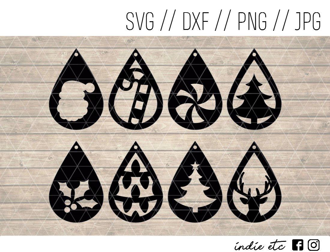 Christmas Teardrop Earring Digital Art File Download (svg, dxf, png, jpg) Leather Earrings, Cut File