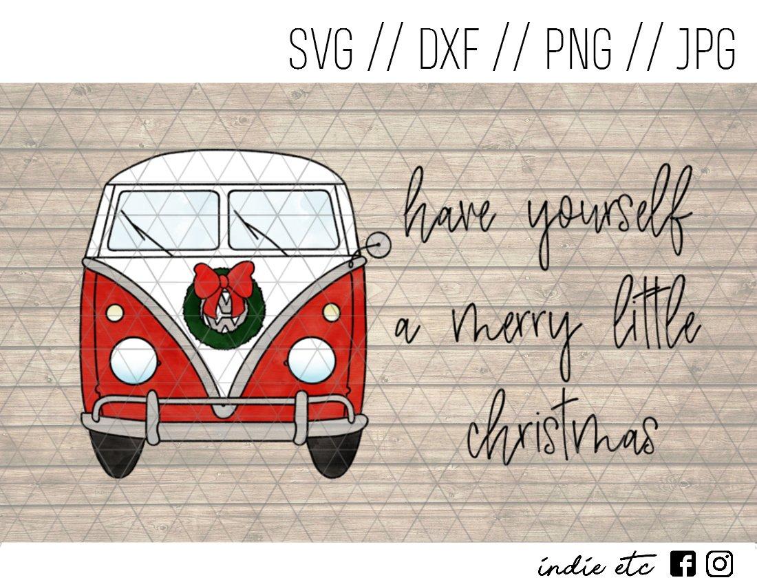 Merry Little Christmas VW Van Digital Art File Download Hand Drawn (svg, png, dxf, jpg, cut file)