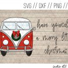 Merry Little Christmas VW Van Digital Art File Download Hand Drawn (svg, png, dxf, jpg, cut file)