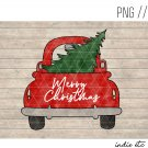 Merry Christmas with Red Truck and Tree Digital Art File Download Hand Drawn (png, jpg, sublimation)