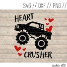 Heart Crusher Valentine's Day Digital Art File with Monster Truck (svg, dxf, png, jpg, cut file)