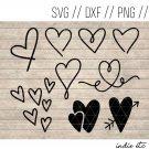 Doodle Hearts Digital Art File Hand Drawn (svg, dxf, png, jpg, cut file, sublimation)