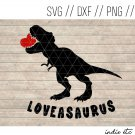 Loveasaurus Digital Art File with T-rex (svg, dxf, png, jpg, cut file, sublimation)