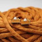 Wooden Pumpkin Pie Earrings (Post Earrings, Hand Painted Baltic Birch Earrings)