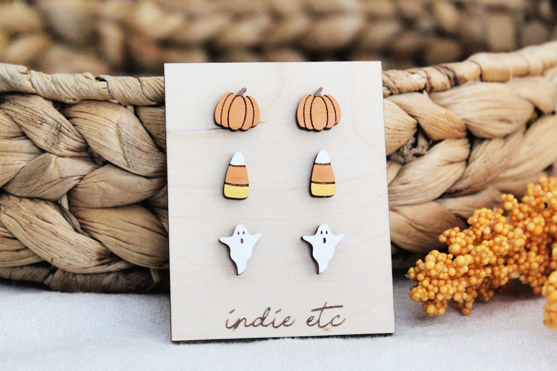 Halloween Earring Set of Wooden Pumpkin Earrings, Candy Corn Earrings, and Ghost Earrings