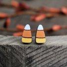 Wooden Candy Corn Earrings (Post Earrings, Hand Painted Baltic Birch Earrings)