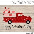 Happy Valentines Day Red Truck with Hearts Digital Art File (svg, dxf, png, jpg, cut file)