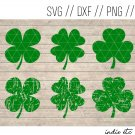 Shamrock Digital Art File with Distressed Clover (svg, dxf, png, jpg, cut file, sublimation)