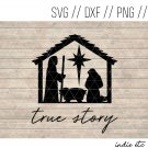True Story Manger Scene Digital Art File Hand Drawn (svg, dxf, png, jpg, cut file)