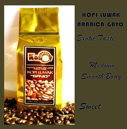 Kopi Luwak / Civet Coffee Gayo Sumatra's Arabica Roasted Bean 250gr