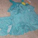 Infant Girl's Sz 6 Mo Adorable Turquoise Blue & White Polka Dot Happy Dress