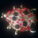"Costume Jewelry Pin Brooch ""Signed La Bella"" Lucky Red Ladybug Beetle Vintage"