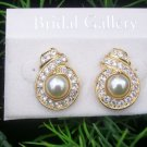"Beautiful ""Bridal Gallery"" Pearl & Goldtone Costume Jewelry Earrings NWT"