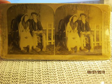 "Antique Stereograph Stereoview Stereoscope Cabinet Card ""Dutch Courtship"" 1894"