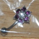Purple 6 gem Flower Navel 763