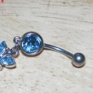 Butterfly Blue CZ Covered Navel 202