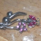 Gem Dangle Butterfly in Pink Navel 35