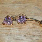 CZ Pink Square Heart Navel 152