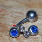 Reverse Dark Blue CZ Gemstone Navel 181