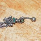Tarnished Green Butterfly Heart Navel 333