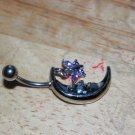 Moon with Butterfly Charm Purple Navel 436