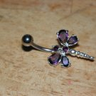 Large CZ Gem Purple Dragonfly Navel 439