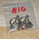 Small Rainbow Dangle Handcuffs in Gold Tones Nipple Shield Pairs 810