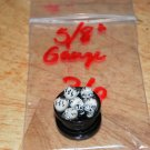 "Black 5/8"" Skull Plug White Eyes 36"
