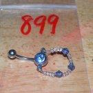 Blue CZ Bead Necklace Navel 899