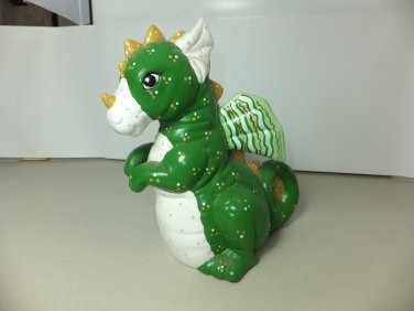 """� 8"""" Green """"Candy"""" DRAGON Porcelain Statue ¤ Figure ¤ Fantasy ¤ Hand Painted ¤ RARE �"""