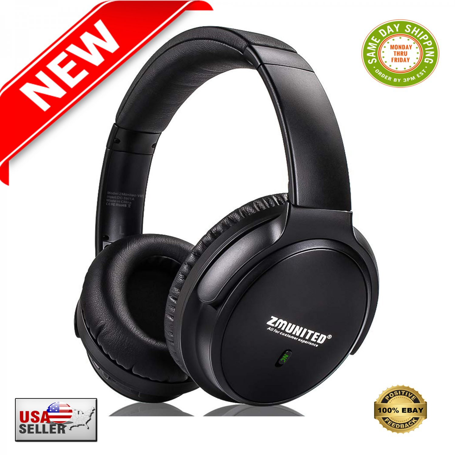 � Active Noise Cancelling Bluetooth 5.0 Wireless Over Ear Headphones 30H Playtime �