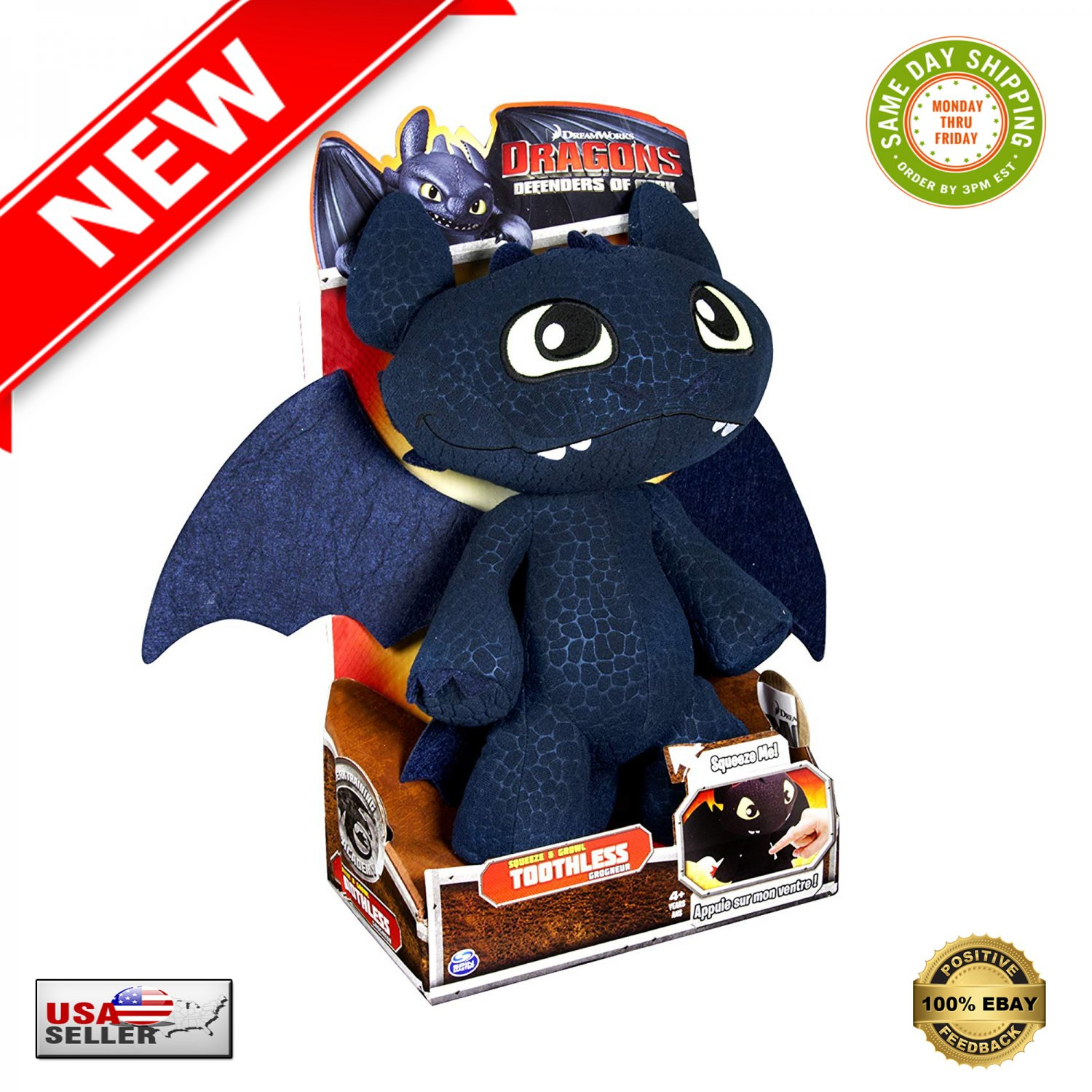 "� DreamWorks Dragons Defenders of Berk Squeeze & Growl Toothless 11"" Plush + Sound �"