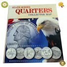 ★ State Series Quarters Collector Map Book - Hardcover - Quarters Coin Included ! ★