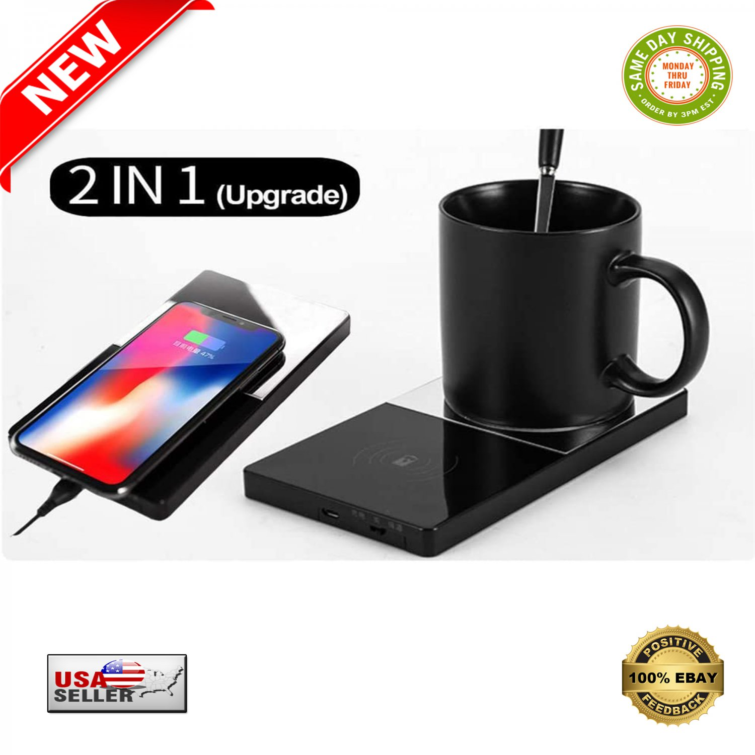 � 2 in 1 Coffee Warmer Pad With Phone Wireless Charger With Vanity Mirror Design �
