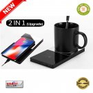 ★ 2 in 1 Coffee Warmer Pad With Phone Wireless Charger With Vanity Mirror Design ★
