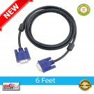★ VGA to VGA Cable SVGA HD15 Monitor Cable Male to Male 6 Feet Video Connector NEW ★